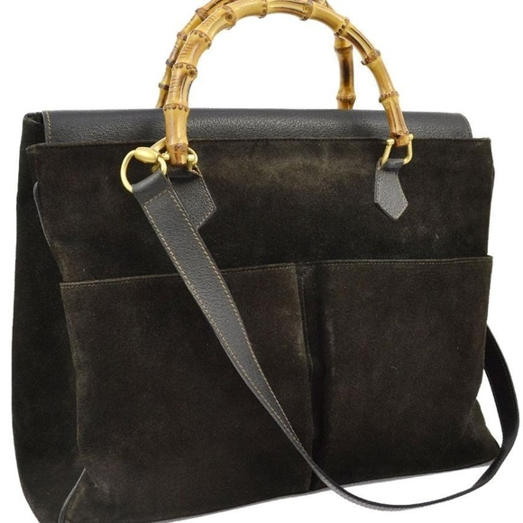 Gucci Handbags - Gucci Large Black Suede Bamboo Tote 870576